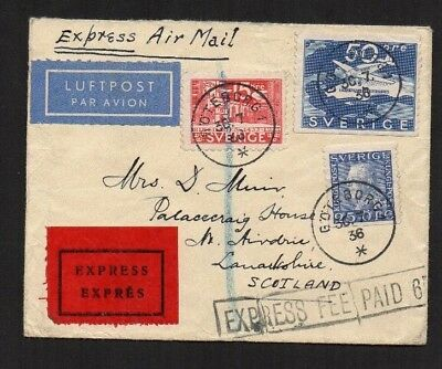 Plain Cover Express Air Mail Sweden To Scotland (Airdrie) 1936 Postal History