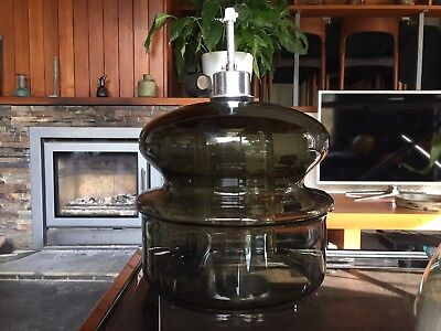 Vintage 1970s Holmegaard Smoked Double Glass Lamp / Light  Shade / Pendant