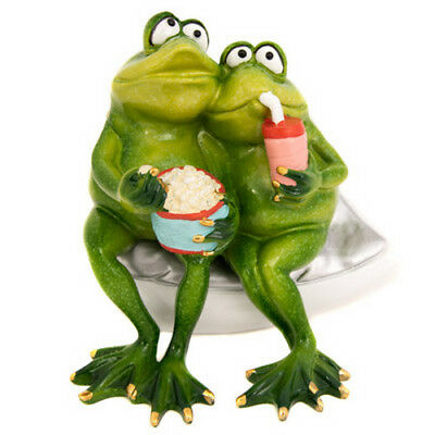 "Frog Couple Watching Movies Figurine Polystone 6"" Long Gift Item Romantic Qualit"