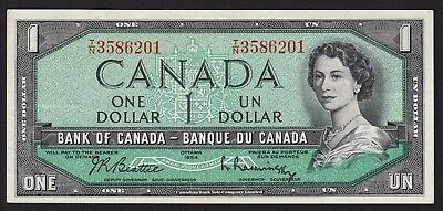 Canada $1 One Dollar Banknote 1954 P-74b Modified Hair Series