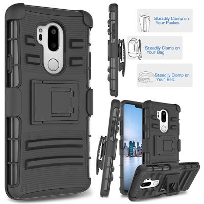 For LG G7 ThinQ Case Rugged Armor Shockproof Kickstand Cover with Belt Clip