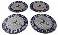 MERCEDES Standard Wheel Center Hub Caps Silicone Badge Emblem Stickers 4x58mm
