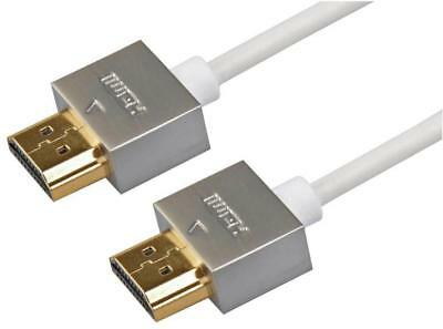 High Speed 4K HDMI Lead with Ethernet, Male to Male, Slim Cable, 4m White