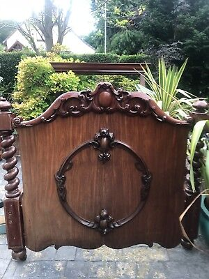 Antique Victorian Mahogany & Pine Double Bed ( in the style of a 1/2 tester )
