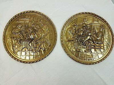 Lot of 2 Vintage Brass Embossed Hammered Wall Hanging Plates Metal ware England