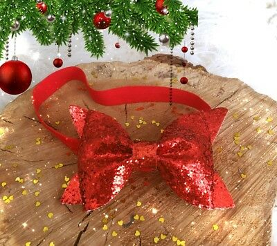 "Christmas Baby Girl Headband Hair Band Red Glitter Bow 4"" Sparkly Bow"