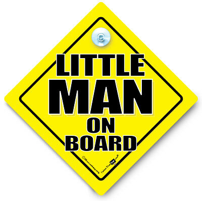 Little MAN On Board Car Sign, Small Person Sign, Baby on Board, Joke Car Sign