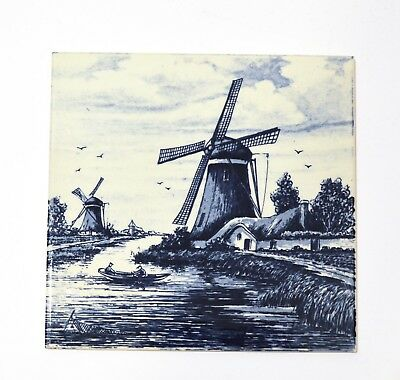 """2 BLUE AND WHITE PORCELAIN TILES BY DELFT BLAUW - WINDMILLS 6""""x6"""" Handpainted"""