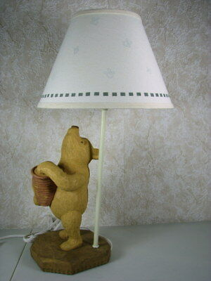 Disney Classic Winnie The Pooh Table Lamp by Charpente Resin Primitive w/ Shade
