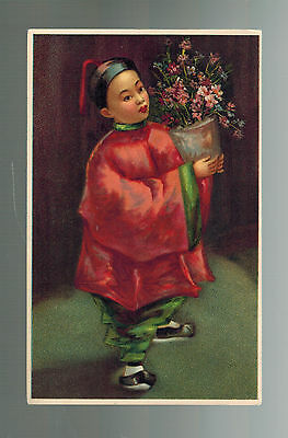 Mint  vintage RPPC China Picture  Postcard Little boy with Flowers Chinatown