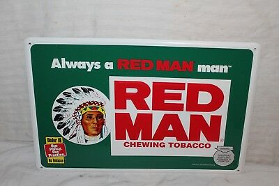"Vintage Red Man Chewing Tobacco 18"" Embossed Metal Sign W/Indian~Nice"