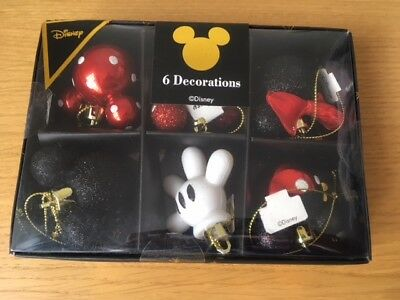 NEW PRIMARK Disney Minnie Mouse & Mickey Mouse pack of 6 baubles Christmas