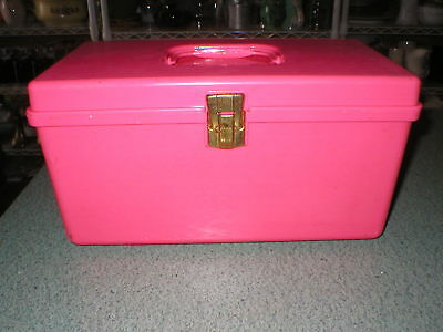 VTG Wilson Wil Hold Plastic Sewing Box Fuscia Pink Texture Design Removable Tray