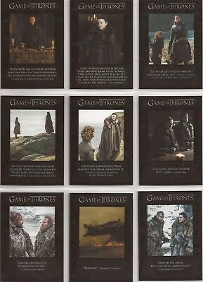 Game of Thrones Season 7 Trading Cards - The Quotable Special-Set (Q61 - Q69)