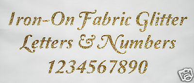 Iron-On Glitter Letters & Numbers GOLD + FREE Rhinestones - Elegant font 19-50mm