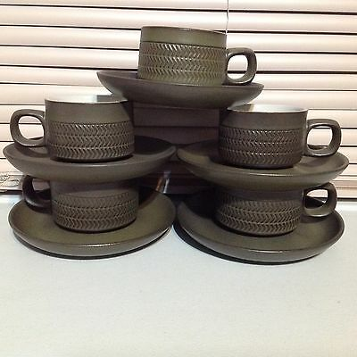 Denby Camelot Dark Green 5 Flat Cups & 5 Saucers Made In England 1964-1990