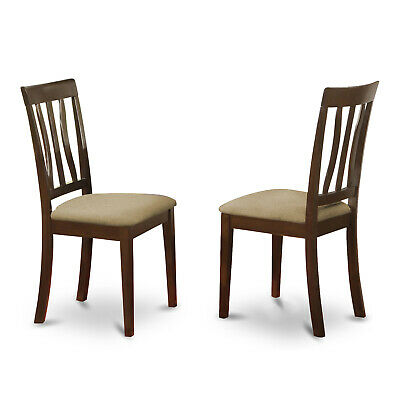 Set of 2 Antique dinette kitchen dining chairs microfiber padded seat cappuccino
