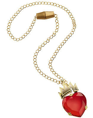 Evie Descendants Red Heart Gem With Gold Crown Necklace Costume Jewelry