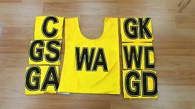 NETBALL BIBS FULL SET (Yellow with Black Lettering) Set of 7