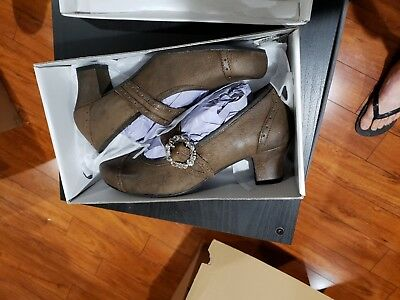 Authentic German Bavarian Oktoberfest Women's Shoes 100% Leather Brown Pumps