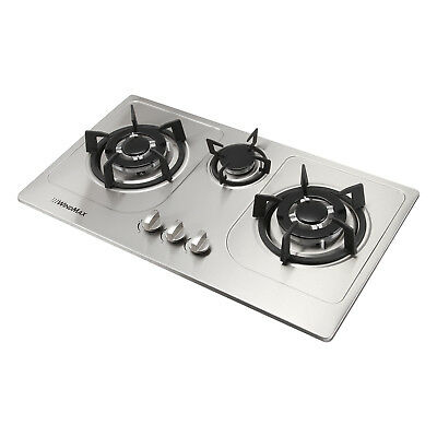 72cm Cooktops Built-in 3 Burner Stainless Steel Hob Wok Nat Gas/LPG Cooker Top