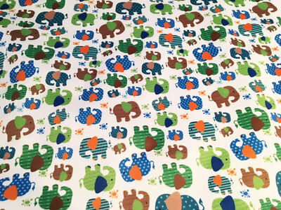 Elephants PUL fabric for nappies & wetbags - price per fat quarter 50x75cm