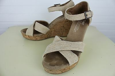 23d7caf5e523 TOMS Womens Size W6 Sierra Natural Linen Canvas Cork Strappy Wedge Shoes  Sandal