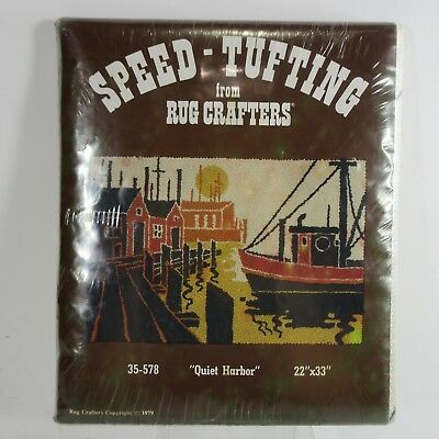 """Vtg 70s Rug Crafters Starter Pattern SPEED TUFTING Quiet Harbor Boats 22"""" X 33''"""