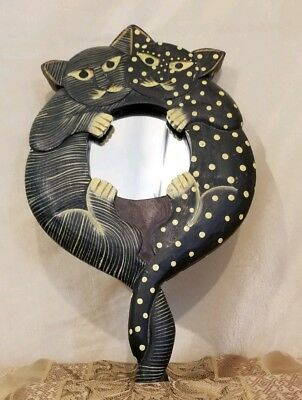 Vintage 90s Pier 1 imports Wooden Hand/Wall Mount Make Up Mirror Polka Dot Cats