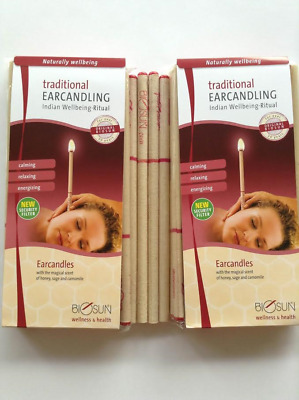 BIOSUN LEMONGRASS EUCALYPTUS LIME EAR CANDLES Two Pairs - Made in Germany