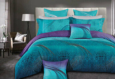 Queen / KING  ZEPHYR quilt cover Set 3pc aqua turquoise purple doona Cover set