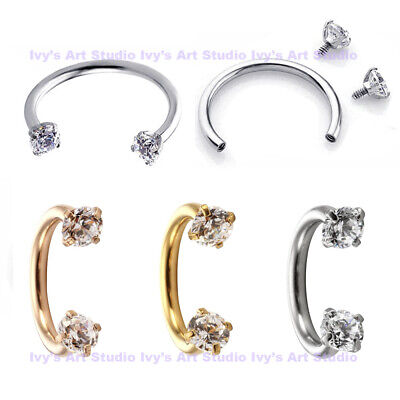 Gem Surgical Steel Horseshoe Ring Nose Ear Lip Cartilage Septum Tragus Piercing