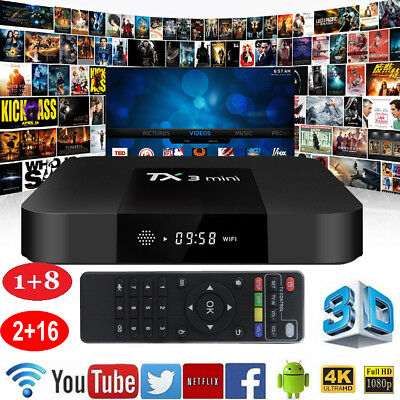 Android 7.1 WIFI TX3 Mini Smart TV Box 2.4GHz WiFi 2G+16G 17.3 Media Player 4K