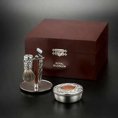 Royal Selangor Pewter Woodland Shaving Set Boxed - Perfect Mens Gift
