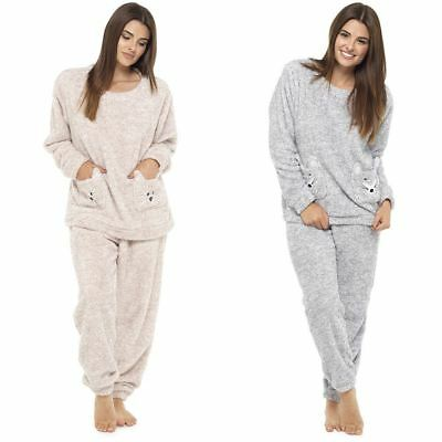Ladies Soft Snuggle Fleece Animal Twosie With Pockets Pyjama Size 8-18 Gift
