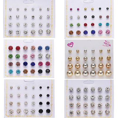 Wedding Elegant Geometric Round Zircon Stud Earrings Women Charm Jewellery Gift