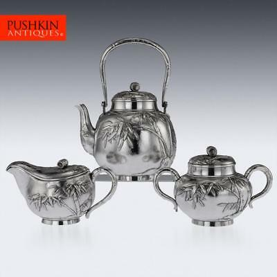 ANTIQUE 20thC JAPANESE MEIJI SOLID SILVER THREE PIECE TEA SET c.1900