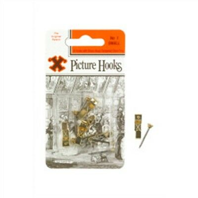 No.1 Hook Small Brassed 5 Hooks With Brass Headed Pins - Pack Picture x 1 No1