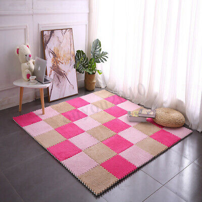Foam Shaggy Velvet Floor Puzzle Mat Interlocking Tile Play EVA Kids Baby Carpet