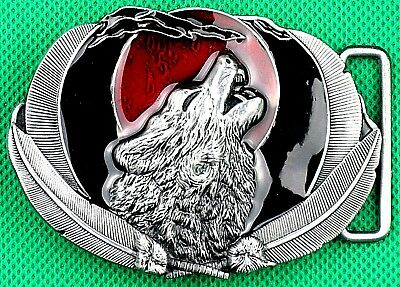 "Belt Buckle ""Wolf With RED Moon"" for 3.8cm Wide Belt, DIY, Custom Metal Casting."
