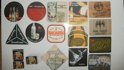 Drinks Coasters #01 - Rum, Bacardi, x14 various styles, +2 Bacardi matchbooks