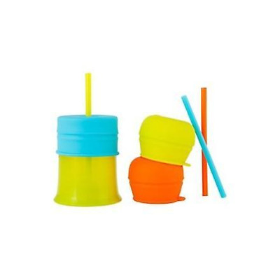 Boon Snug Straw Cup Universal Silicone Straw Lids and Cup Boy Colours Boon Snug
