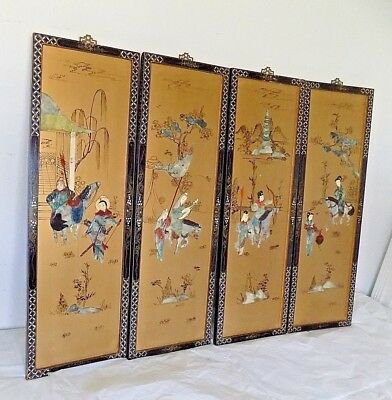Vintage Chinese Art Golden Wall Panels Painted Jade Bone Inlay Horses Signed