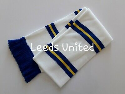 Leeds United FC Football Scarves White Blue/Yellow Bar Scarf LUFC Memorabilia