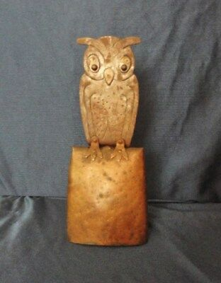 Vintage Arts & Crafts Owl Cow Bell by Hugo Berger marked Goberg FREE SHIPPING