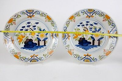 Amazing XL Dutch Delft 18th Century Chargers Dishes Large 34cm 13,6in  A Pair