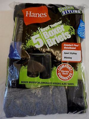 Boy's Hanes Boxer Briefs Small 6-8 Sport Styling Wicking 5 Pack Black Greens