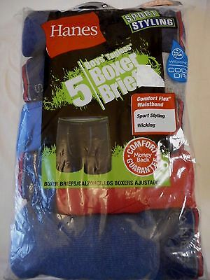 Boy's Hanes Boxer Briefs X-Large Sport Styling Wicking 5 Pack Red & Blues Grays