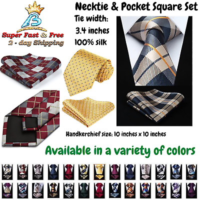 4b28d3286cb Mens Necktie Color Checks Striped Extra Long Necktie   Pocket Square  Elegant Set