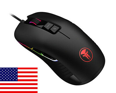 USB Wired Precision Optical Mice 10000 DPI,9 Keys Buttons RGB Gaming Mouse US